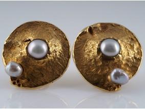 Marken Designer Schmuckatelier Ohrclips Ohrringe Zuchtperlen 750 Gold