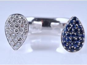 Designer Ring 0,60 Karat Brillanten Saphire 750 Gold Wert: ca. 2.400,- EUR
