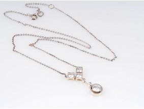 antike Kette Collier 1,80 Karat Altschliff Diamanten 585 Gold Platin um 1920