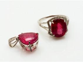 Schmuck Set Ring Anhänger Diamanten Rubinen 925 Sterling Silber