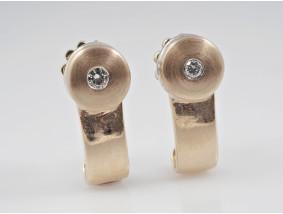 Bicolor Ohrstecker Ohrringe 0,10 Karat Brillanten 585 Gold 14 Karat