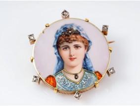 antike Brosche Diamanten Emaille 750 Gold 18 Karat um 1920