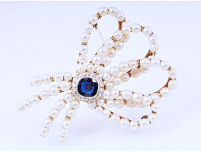 antike Brosche Diamanten Natur Orient Perlen Saphir 585 Gold 14 Karat