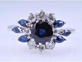 vintage Ring 0,40 Karat Brillanten 1,60 Karat Saphire 585 Gold 14 Karat
