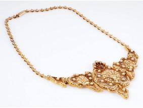 antike Jugendstil Collier Kette Natur Orient Perlen 585 Gold 14 Karat um 1910