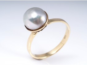 antiker Ring Natur Perle 585 Gold antikes Etui um 1920