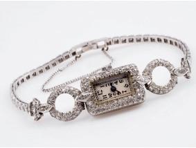 antike Damen Armband Uhr 2,00 Karat Diamanten Platin um 1920