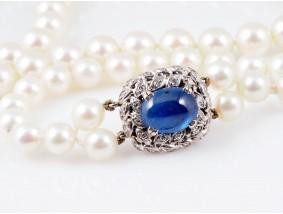 Juwelier Rene Kern Akoya Zuchtperlen Kette Brillanten Saphir 750 Weiss Gold