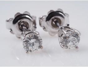 Ohrstecker Ohrringe 0,67 Karat Solitär Brillanten 750 Gold zwei IGI Expertisen