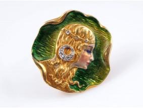 antike Jugendstil Brosche Diamanten Emaille 750 Gold 18 Karat