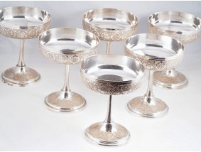 sechs Eis Becher Fuss Schalen 840 Silber Persien um 1940 ca. 1.049 Gramm