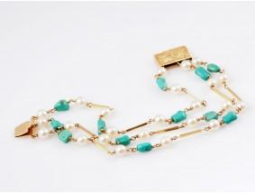 Vintage Armband Zucht Perlen Türkisen 750 Gold Italien um 1960