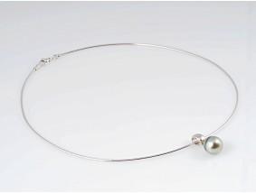 Anhänger Tahiti Zucht Perle Schlangenkette 750 Weiss Gold 18 Karat