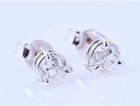 Ohrringe Ohrstecker 0,72 Karat Altschliff Solitär Diamanten 750 Gold 18 Karat