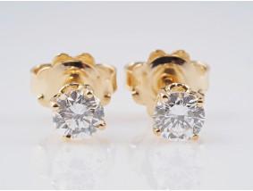 Ohrstecker Ohrringe 0,67 Karat Brillanten 750 Gelb Gold zwei IGI Expertisen