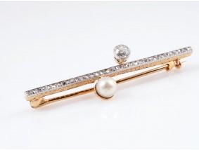 antike Brosche Nadel Diamanten Natur Perle 585 Gold Platin um 1900