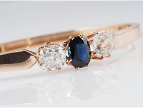 antiker Armreif Armband 2,25 Karat Diamanten Saphir 585 Gold IGI Expertise