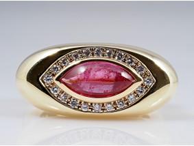 Designer Ring 3,20 Karat Brillanten Turmalin Rubellit 585 Gold