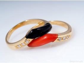 zweiteiliger WEMPE RING mit BRILLANTEN ONYX KORALLE / 750 GOLD / um 1960 - 1970