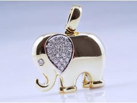 Marken Elefanten Clip Anhänger 0,27 Karat Brillanten 585 Gold 14 Karat