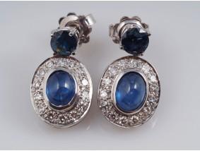 Ohrringe Ohrstecker Diamanten Saphire 750 Gold 18 Karat IGI Expertisen
