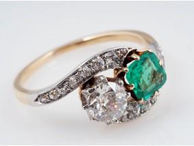 antiker Ring Diamanten Smaragd 585 Gold Platin Wert: ca. 4.000,- EUR
