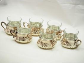 sechs Tee Gläser Tee Glashalter 830 Silber ca. 1504.00 Gramm