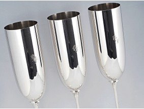 Robbe & Berking drei Champagnerkelche Sektkelche 925 Sterling Silber OVP