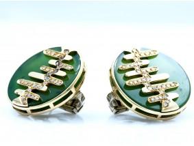 Ohrclips 0,72 Karat Diamanten Jade Platten 750 Gold Wert: ca. 2.880,- EUR