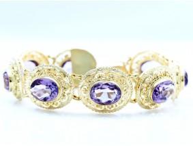 Armband 64,00 Karat Amethyste 750 Gold Handarbeit