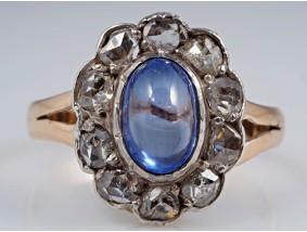 antiker Ring 0,50 Karat Diamanten 1,00 Karat Saphir Gold um 1930 - 1940 Lodz