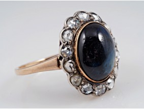 antiker Ring 0,50 Karat Diamanten 5,00 Karat Saphir 585 Gold um 1880
