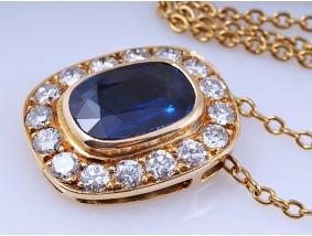 Anhänger Kette Saphir Brillanten 750 Gold IGI Expertise Wert: ca. 3.900,- EUR