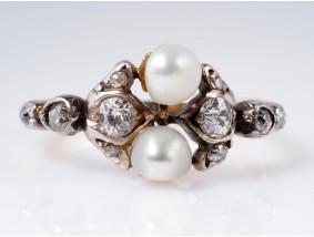 antiker Ring mit Diamanten Natur Orient Perlen 750 Gold um 1900