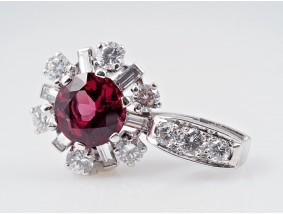 Anhänger Rhodolit 1,20 Karat Brillanten Diamanten 750 Gold IGI Expertise