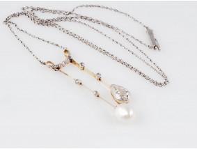 antike Kette 1,12 Karat Diamanten Natur Perle Gold Platin DSEF Expertise