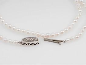 antike Zucht Perlen Kette Collier Silber