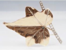 antike Jugendstil Brosche Weintraubenblatt Diamanten 750 Gold
