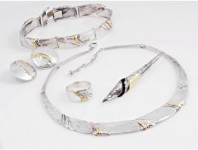 Schmuckset Armband Collier Ohrclips Ring Brosche Silber 1000 Feingold 585 Gold