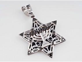 russischer Anhänger David Stern Magen David Diamanten Emaille 585 Gold