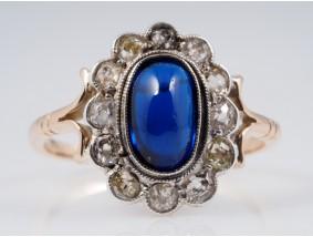 antiker Ring Diamanten künstlicher Saphir 585 Gold Platin um 1900