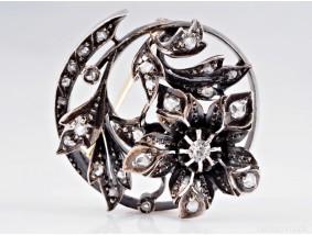 antike Brosche Diamanten Österreich um 1870 Gold Silber Handarbeit