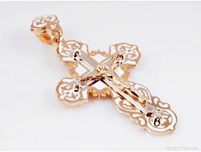 russischer Kreuz Anhänger Brillanten Emaille 585 Rosé Gold 14 Karat