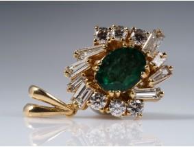 Anhänger Brillanten Diamanten Smaragd 750 Gold Wert: ca. 2.200,- EUR