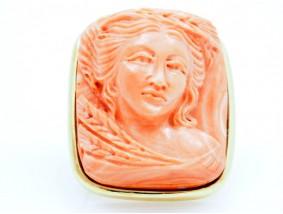 Anhänger Brosche Koralle 750 Gold Italien um 1960 Wert: ca. 3.330,- EUR