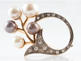antike Jugendstil Brosche 0,50 Karat Diamanten Zucht Perlen 585 Gold