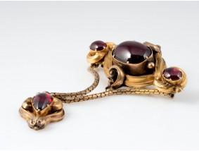 antike BROSCHE mit 10,00 Karat GRANATEN / 585 GOLD / um 1850