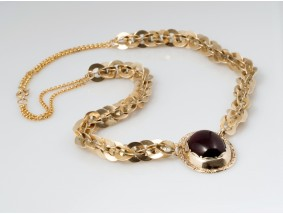 antike russische Kette Collier mit Almandin / 56 Zolotnik / Gold