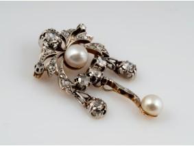 Anhänger Brosche Diamanten Natur Perlen 585 Gold Platin DSEF Expertise