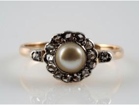 antiker Ring Rosenschliff Diamanten Orient Naturperle 585 Gold 14 Karat um 1900